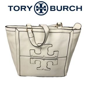 Tory Burch Cream Leather Tote Bag